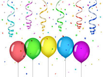 Confetti and party balloons. Party curled streamers Stock Images