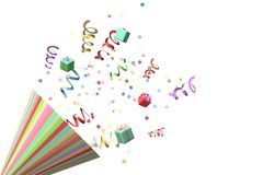 Confetti and a party horn. An illustration of colored confetti coming out of a horn royalty free illustration