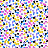 Confetti pattern. Ditsy vector polka dot pattern with scattered hand drawn small circles in bright gold, pink, blue colors. Seamless texture in vintage 1950s Stock Photos