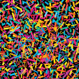 Confetti piece colorful seamless pattern. This illustration is drawing colorful confetti pieces place at seamless pattern with black color background Royalty Free Stock Images