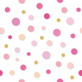 Confetti polka dot seamless pattern background. Golden glitter and pink trendy colors. For birthday, valentine and. Scrapbook design. Vector EPS10 Stock Images
