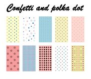 Confetti and polka dot. Seamless Patterns - texture for wallpaper, background, scrapbook, design - in Royalty Free Stock Images