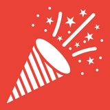 Confetti Popper glyph icon, New year and Christmas. Xmas sign vector graphics, a solid pattern on a red background, eps 10 Stock Photos