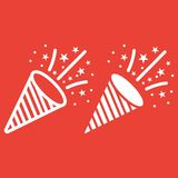 Confetti Popper line and glyph icon. New year and Christmas, xmas sign vector graphics, a linear pattern on a red background, eps 10 Stock Images