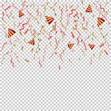 Confetti realistic vector illustration on transparent background royalty free illustration