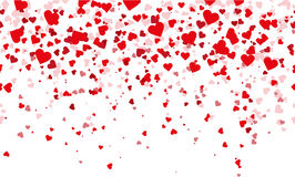 Confetti red hearts fall background. Illustration in vector format Royalty Free Stock Photo