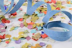 Confetti and ribbon Stock Photo