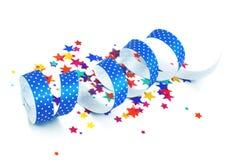 Confetti and ribbon Stock Photos