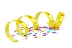 Confetti and ribbon Stock Photo