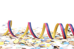 Confetti and ribbons Stock Photos