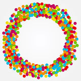 Confetti. Round frame of colored circles. Vector illustration. Festive decoration for invitations and greeting cards. Abstract celebratory background Royalty Free Stock Photos