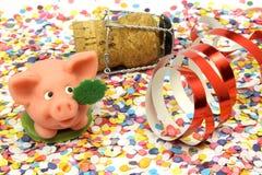 Confetti, Schwein, glückliches neues Jahr Stockfoto