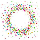Confetti seamless bright round frame colorful for celebration. Illustration of Confetti seamless bright round frame colorful for celebration Royalty Free Stock Images