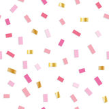 Confetti seamless pattern. Festive background with pink and gold little pieces. Girly. Stock Image