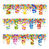 Confetti and serpentine banner Stock Images