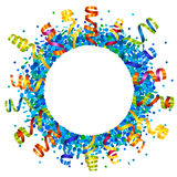 Confetti and serpentine round frame Stock Photography