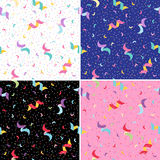 Confetti and Serpentine seamless background. Royalty Free Stock Photos