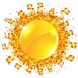 Confetti and serpentine sun Stock Photos