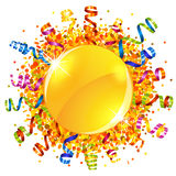 Confetti and serpentine sun Royalty Free Stock Images