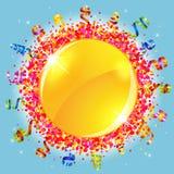Confetti and serpentine sun Royalty Free Stock Photo