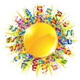 Confetti and serpentine sun Stock Photography