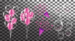 Confetti and set purple ribbons.  illustration bunch of Birthday. Transparent Balloon isolated. Party decorations for Wedding, anniversary, celebration, event Stock Photos