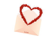Confetti in the shape of a heart flies out of the envelope Stock Image