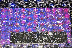 Special effects during pop music concert. Confetti special effects during pop music concert Stock Photo