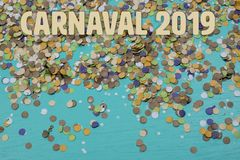 Confetti spread on blue background with text in portuguese. Confetti spread on blue background with text in portuguese royalty free stock images
