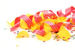 Confetti and streamer. On a white background Royalty Free Stock Photo