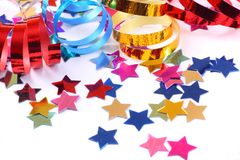 Confetti  with streamers Stock Photo