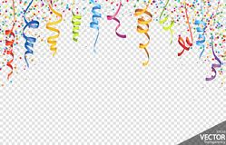 Confetti and streamers party background. Illustration of colored confetti and streamers background for party or carnival usage with transparency in vector file vector illustration