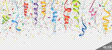 Confetti and streamers party background. Illustration of seamless colored confetti and streamers background for party or carnival usage with transparency in stock illustration