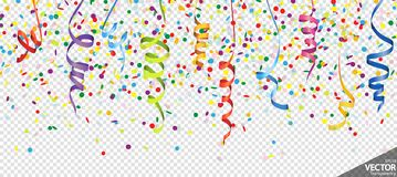Confetti and streamers party background. Illustration of seamless colored confetti and streamers background for party or carnival usage with transparency in royalty free illustration