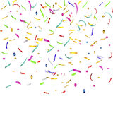 Confetti and streamers. Top flying streamers and confetti Royalty Free Stock Photo