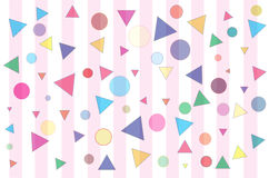 Confetti and Stripes. Confetti made of multi colored triangles, circles, and squares scattered on pink and white stripes Royalty Free Stock Photography