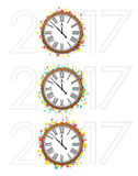 Confetti with text 2017 and vintage clock Stock Image
