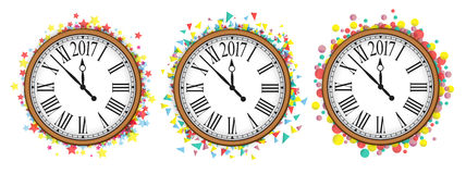 Confetti with text 2017 and vintage clock. NewYear greeting design Stock Photo
