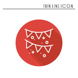Confetti, tinsel icon. Falling tiny pieces. Party celebration birthday holidays event carnival festive. Thin line party. Basic element icon. Vector linear Stock Image