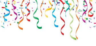 Confetti top border, vector illustration. Vector illustration of colorful confetti background on white, suitable for birthday function background Royalty Free Stock Photos