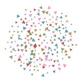 Confetti triangles on a white background. Illustration of a drop of multicolored shiny particles. Decorative element. Luxury background for your design, cards Royalty Free Stock Images