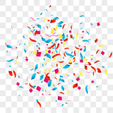 Confetti vector background over transparent grid for holidays, party, events, vector illustartion Royalty Free Stock Images