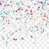 Confetti vector background over transparent grid for holidays, party, events, vector illustartion Stock Images