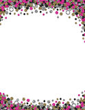 Confetti wedding bachelorette frame background printout. This is an 8.5 by 11 inch frame border design featuring fun hot pink, silver, black, and gold confetti royalty free illustration