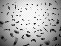 Confetti wybuch na przejrzystym tle Czerń, ciemny realistyczny rozrzucony confetti Wiele spada malutcy confetti kawałki, celebra Fotografia Royalty Free