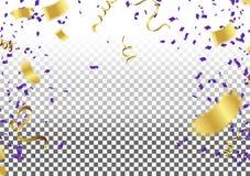 Confetti złociści i błękitni faborki, świętowania tła szablon ilustracja wektor
