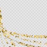 Confetti zakrywają od złocistych gwiazd Zawijas ścieżka jak narożnikowa winieta ilustracja wektor