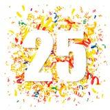 Confettien en groot wit cijfer 25 royalty-vrije illustratie