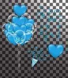 Confettien en reeks rode linten illustratiebos van Verjaardagstra vector illustratie
