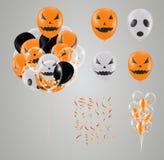 Confettien en vastgesteld Halloween transparante geïsoleerde Ballon Partij royalty-vrije illustratie